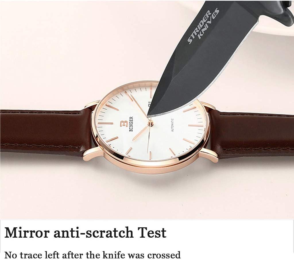 FAPROL-BINGER Montre Minimaliste pour Hommes, Noyau Mécanique Fonction D'affichage du Calendrier Étanche De Montres Anti-Rayures Miroir Gray