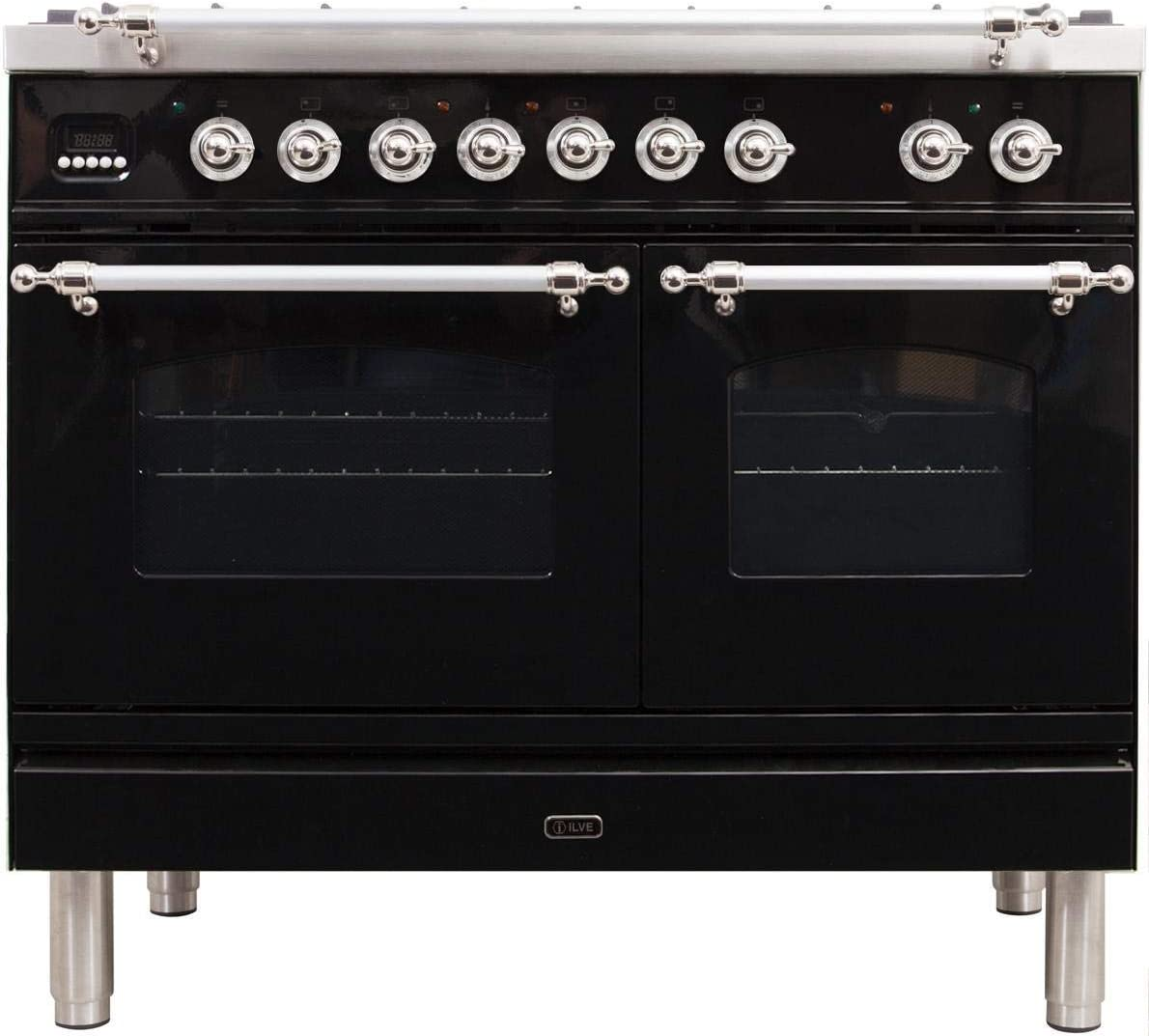 Ilve UPDN100FDMPNX Nostalgie Series 40 Inch Dual Fuel Convection Freestanding Range, 5 Sealed Brass Burners, 4 cu.ft. Total Oven Capacity in Glossy Black, Chrome Trim (Natural Gas)