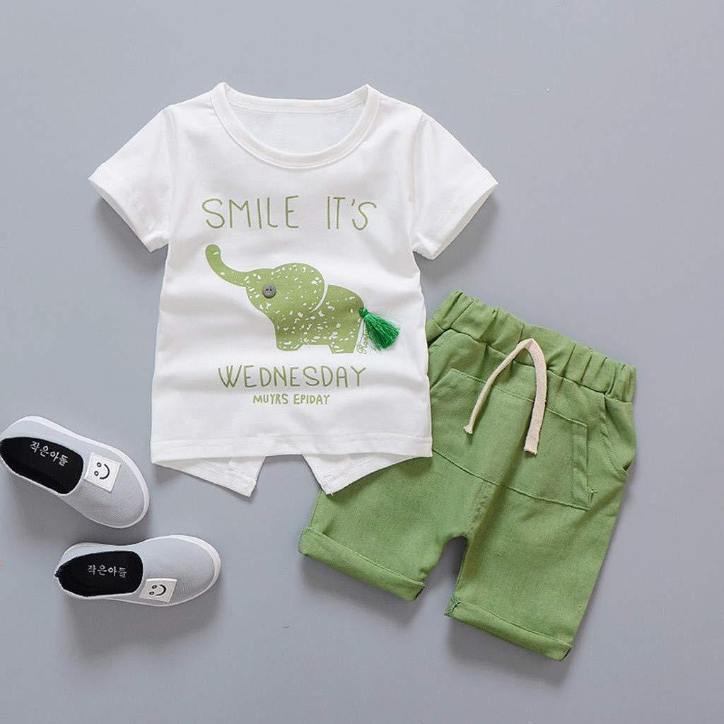 Baby Girls Summer Pajamas Set Cheap,Infant Baby Girls Cartoon Elephant Tee Tops + Shorts Pants(Green,90) by Wesracia (Image #2)
