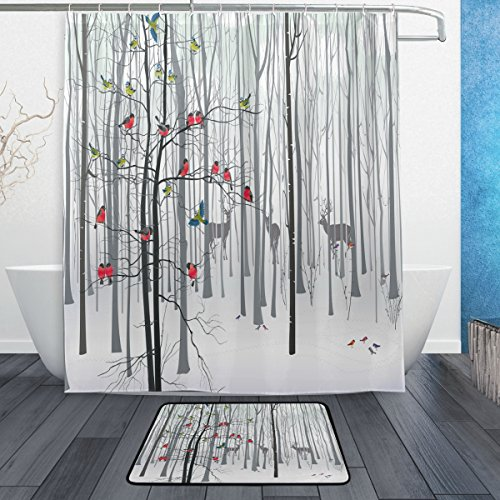 Deer and Bird in Forest Animal Waterproof Thick Shower Curtain 60