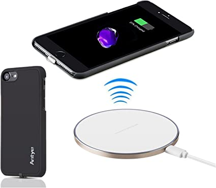 """JinQiu Qi Wireless Charger Kit for iPhone 7(4.7""""), Including Aluminum Qi Wireless Charging Pad Station and Wireless Charging Receiver Case (White)"""