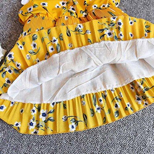 Floral Manches Adeshop Formelle Rond Princess Party Pièces Jaune Robes Jupe Trapèze Flounce Imprimer Dress Pageant Filles Sans Faux Col Deux Soirée Sling 55nRT4qFxw