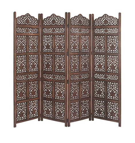 Deco 79 23782 Wooden 4-Panel Screen Divider, (Carved Wooden Screen)
