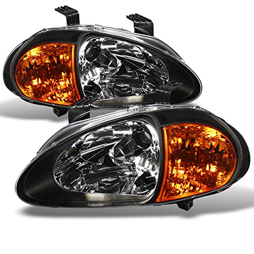 (For Honda Del Sol Black 1 Piece Amber Headlights/Corner Signal Lamps Left + Right)