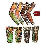 Toolai Unisex Fake Tattoo Sleeves, Bright Series(Pack of 4), Skulls Lotus Dragon