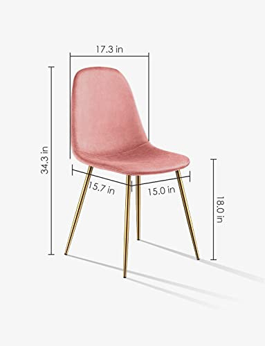 Kealive Dining Chair for Kitchen Dining Room Set of 4 Mid Century Modern Side Chairs with Golden Metal Legs, Velvet Fabric and Soft Upholstered Seat, Pink
