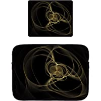 POP MKYTH - Funda Blanda para MacBook Pro, MacBook Air, ASUS, DELL, Lenovo, HP, Samsung y Alfombrilla Antideslizante para Mouse (mármol Dorado y Negro), Color Negro