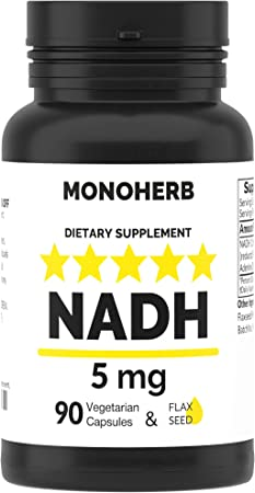 NADH 5 mg 90 Vegetarian Capsules - Reduced Nicotinamide Adenine Dinucleotide Supplement