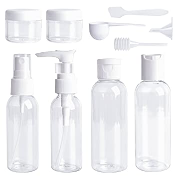 db7e72c17507 Travel Bottles Set 10 Pcs Air Travel Size Bottle Toiletries Liquid  Containers for Cosmetic Makeup with Storage Bag by Ouway