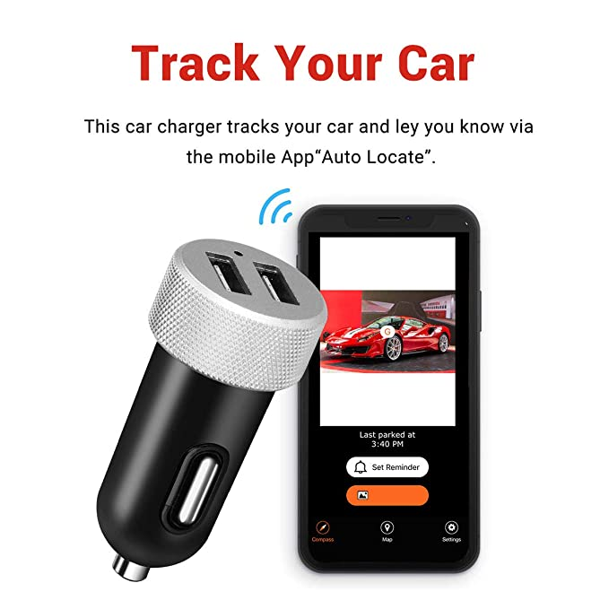 Eforces 4.8A Dual USB Charger /& Car GPS Tracker Finder Locator using Mobile APP