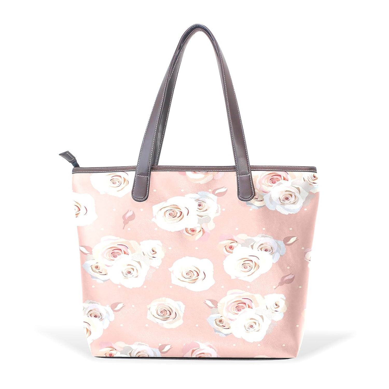 CCBHGY Women's Beautiful Pink Roses pattern Leather Handbag Zipper Shoulder Bag Tote Bag