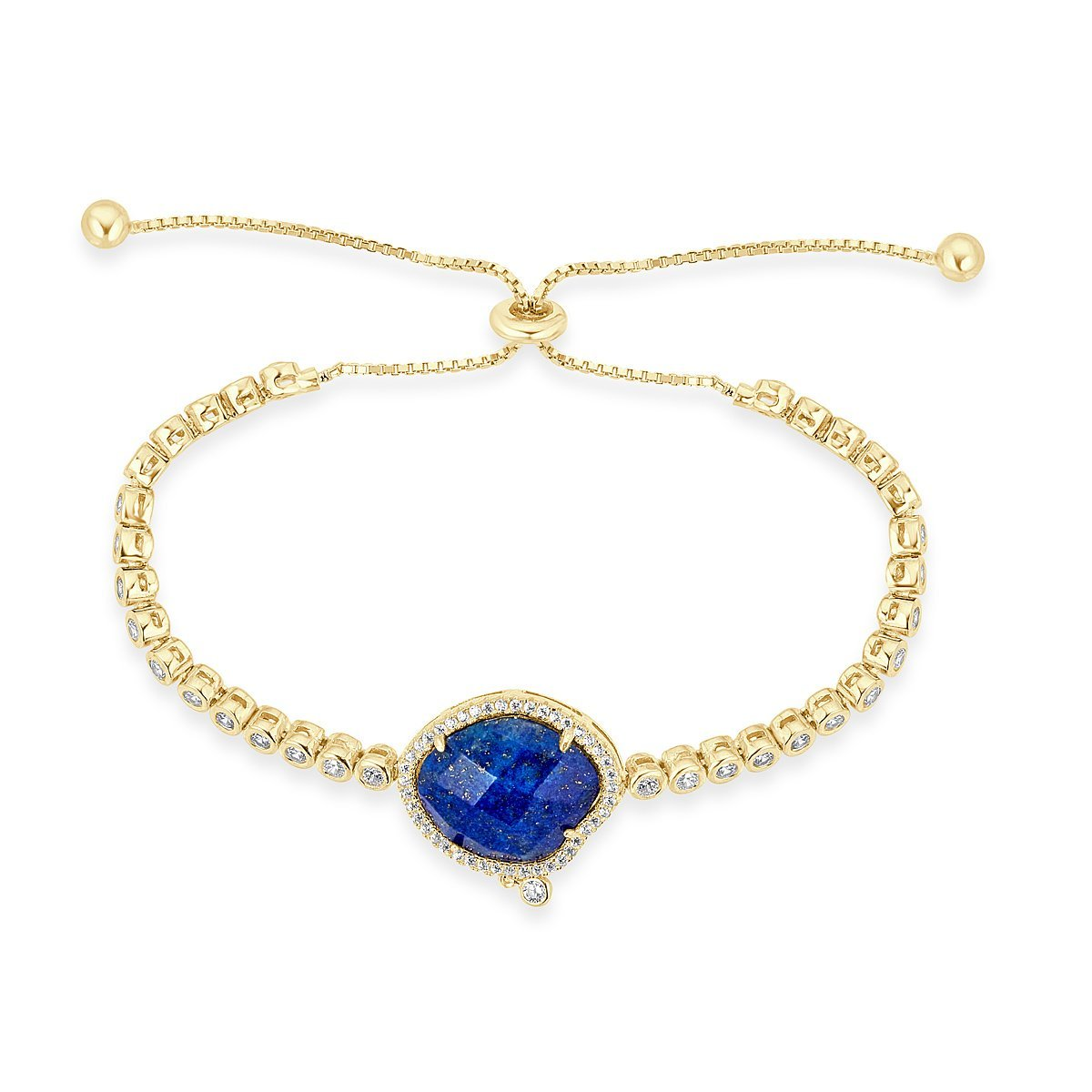 Gold Plated Sterling Silver Cubic Zirconia Lapis Paris Bracelet by Caratina