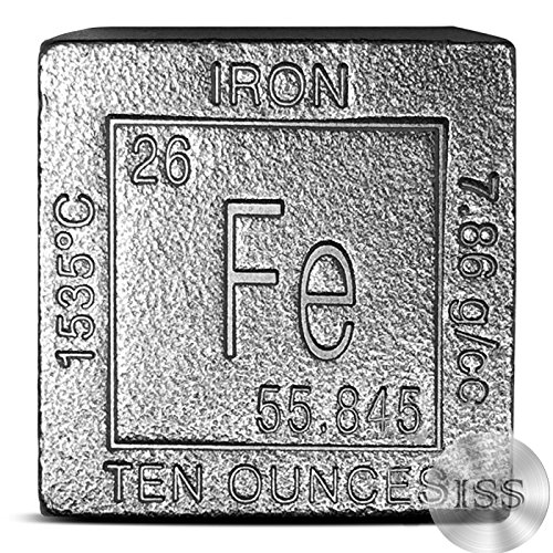 Fine .999 Pure Iron - 10oz Cube- Collectable Element Design - 10 Ounces - Exotic Metal - Atomic Symbol, Fe. Measures (1.25