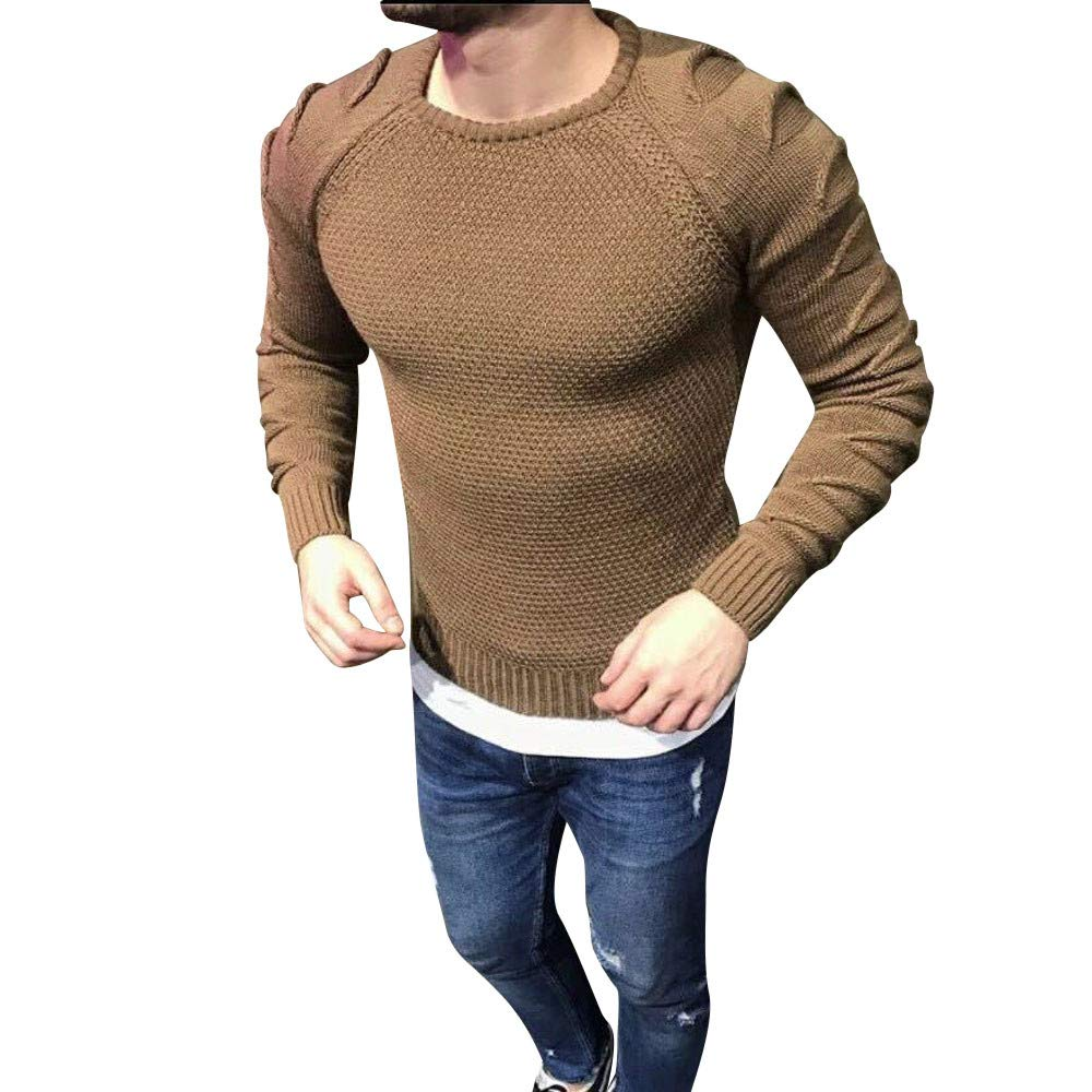 Men's O Neck Knitted Pullover Sweater Jacket Long Sleeve Slim fit Tops PASATO New Hot!(Khaki, XL)