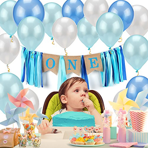 JoyJon Birthday Balloons Banner Happy Birthday Party Decorations Kit Flag 30 Balloons for 1 year old Birthday Baby