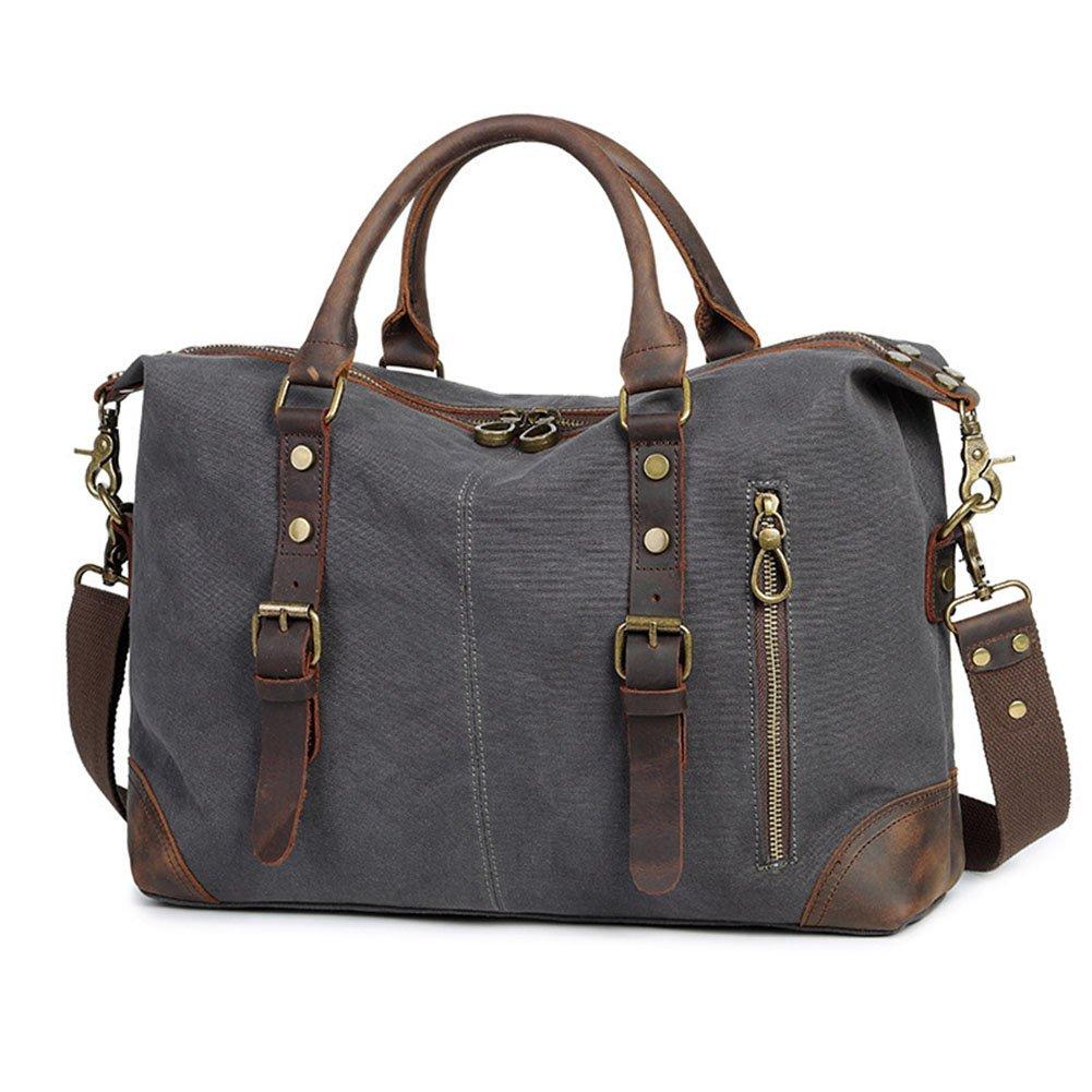 DCRYWRX Men's Tote Briefcase Canvas Leather Laptop Vintage Shoulder Bag Cross Body High-Capacity Multifunctional Handbag,Grey by DCRYWRX
