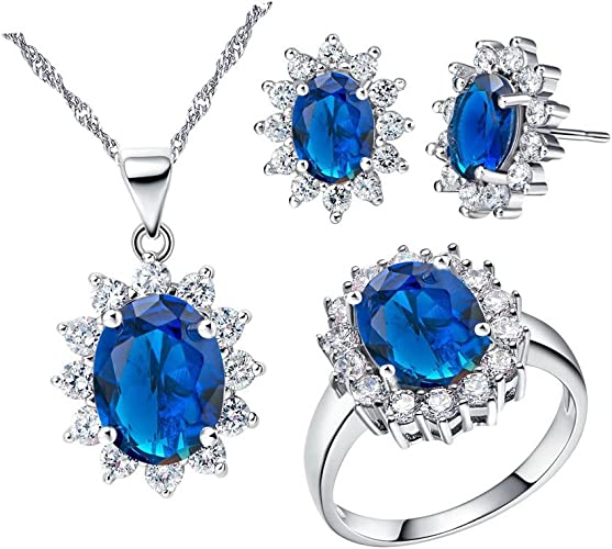 Silver Plated Cubic Zirconia CZ Jewellery Set Earrings Necklace Gift Bag 8 Style