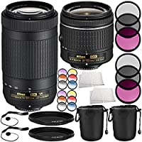 Nikon AF-P DX NIKKOR 70-300mm f/4.5-6.3G ED VR Lens + AF-P DX NIKKOR 18-55mm f/3.5-5.6G Lens 14PC Accessory Bundle – Includes 2x 3 Piece Filter Kits (UV + CPL + FLD) + MORE (Certified Refurbished)