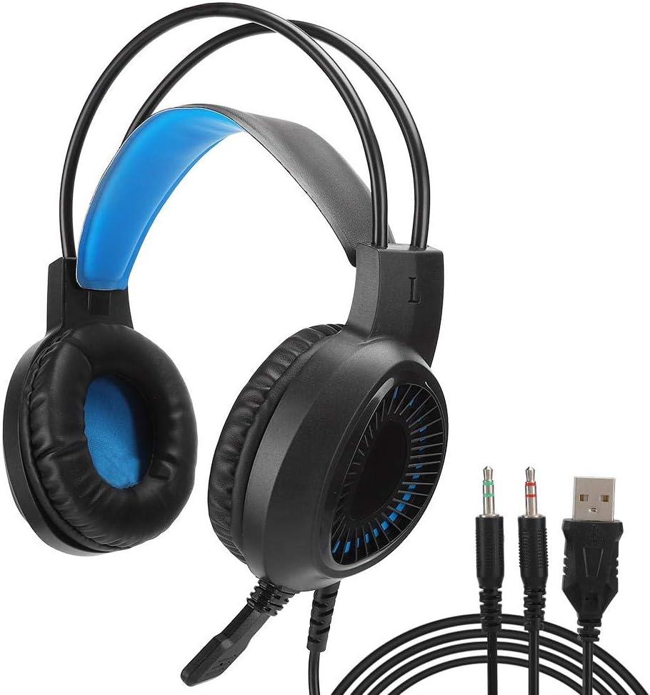 Auriculares para juegos, RGB Racing Lights Auriculares coloridos para juegos luminosos, Esponja de retorno lento Auriculares USB Micrófono con cancelación de ruido para PC portátil(Azul luminoso)