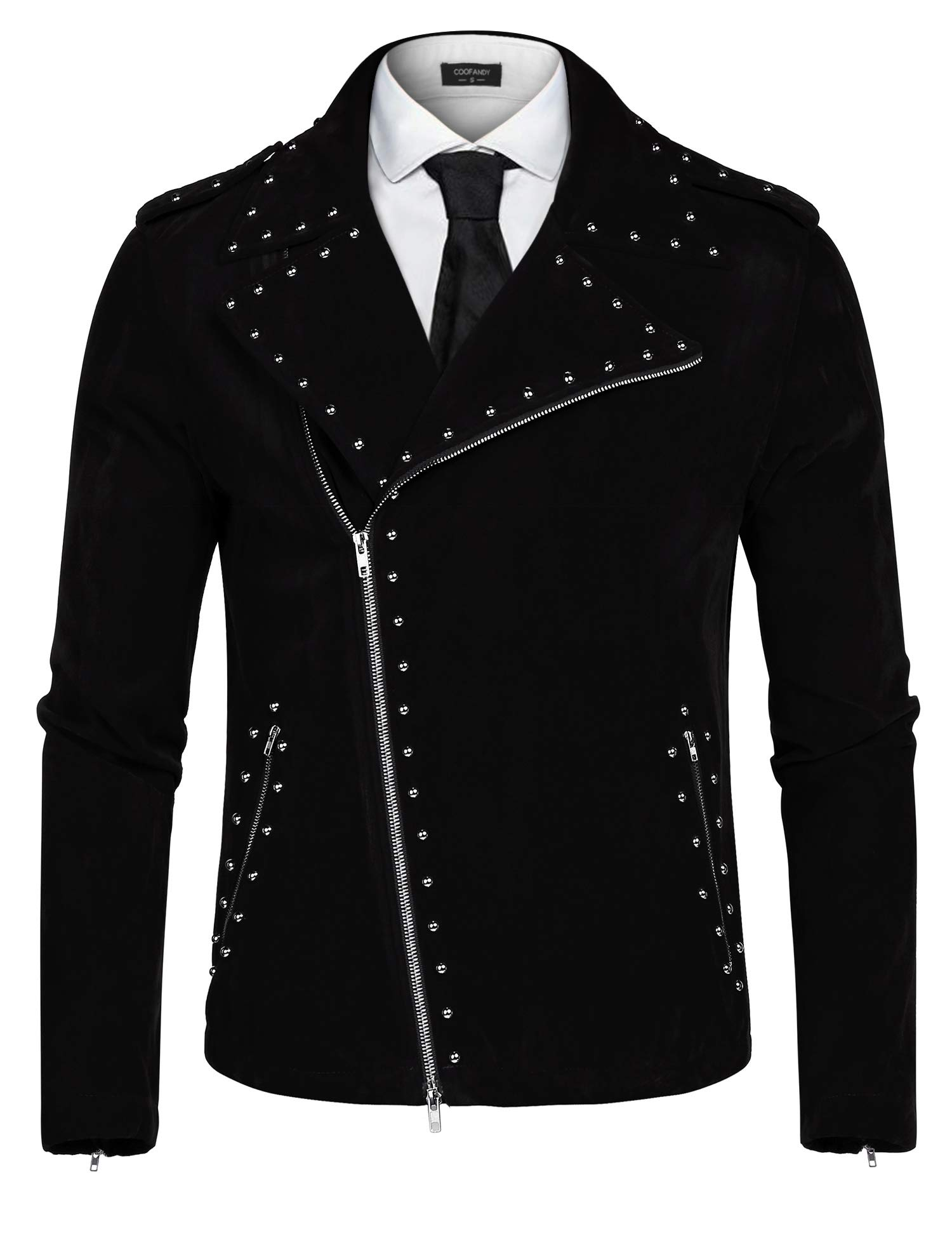 COOFANDY Men's Velvet Rivet Design Punk Rock Motorcycle Biker Jacket Zipper Coat(Black,XXL)