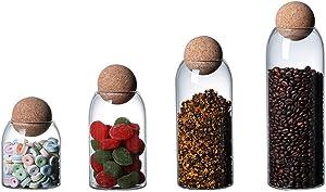 Hemoton 4pcs Glass Jar with Airtight Seal Wood Lid Ball Clear Candy Jar Mason Jars Biscuit Barrel Food Storage Canister for Tea Coffee Sugar Salt Spice