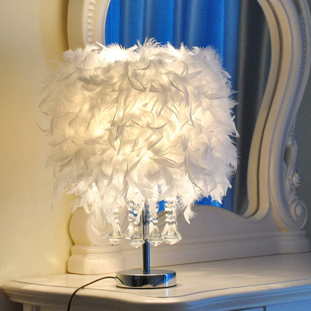 XDLUK 1pc Lampada daTavolo Piuma Lampada da Notte Moderna Creativa Sfera di Cristallo Illuminazione Decorativa Camera della Principessa Camera da Letto Bianca