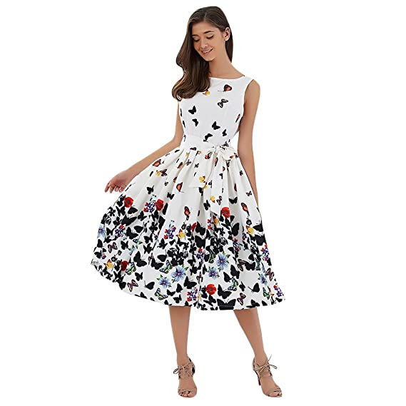 DressLily Sleeveless Butterfly Print Tie A-line Women Dress at Amazon Womens Clothing store: