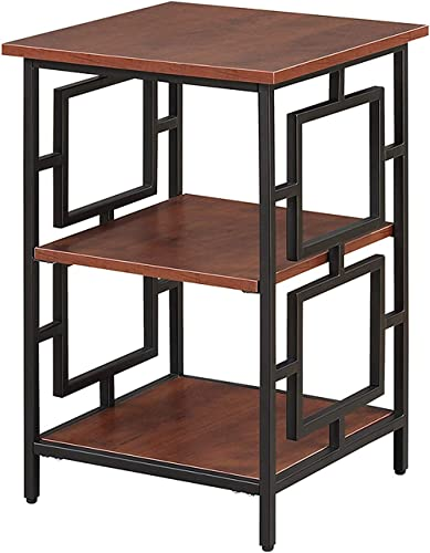 Convenience Concepts Town Square Metal Frame End Table, Cherry Black