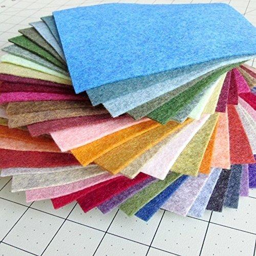38 Piece Merino Wool Blend Felt - Heathered Colors - Made in USA - OTR Felt (6