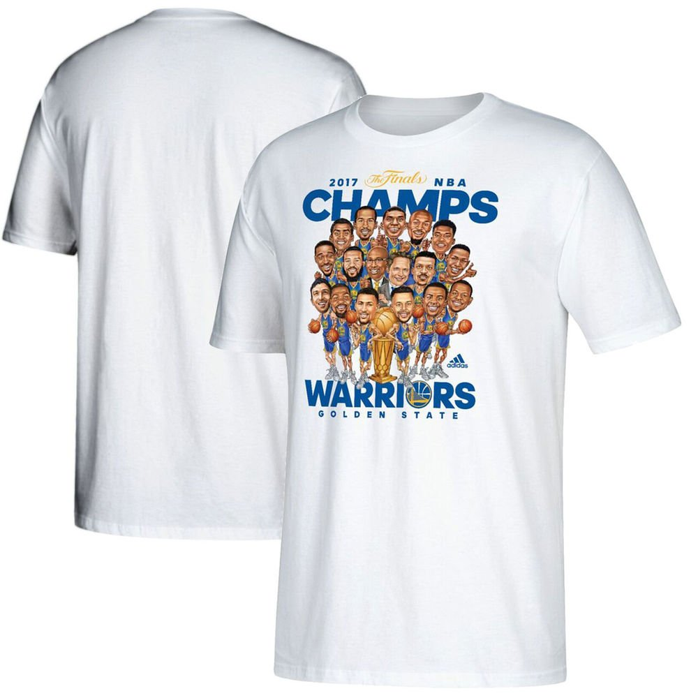 9cd3a71ebe44 adidas Golden State Warriors Youth 2017 NBA Finals Champions Cartoon  Caricature White T-shirt