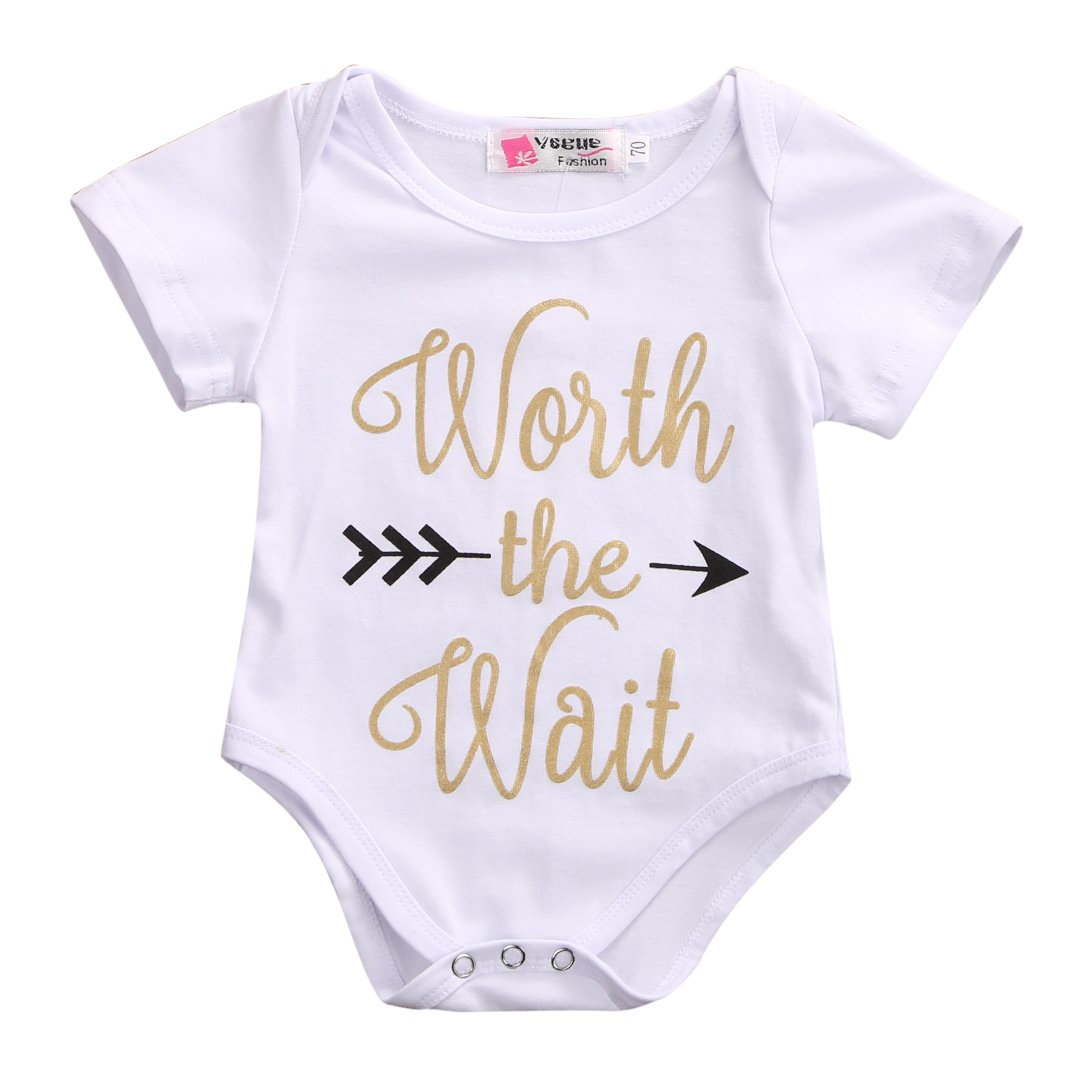 Infant Baby Golden Shiny Words Print Arrow Pattern Romper Bodysuit Outfits (3-6 M, White)