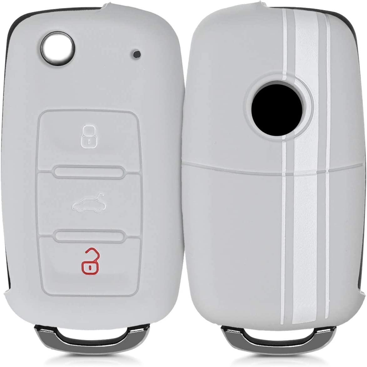 kwmobile Key Cover Compatible with VW Skoda Seat Grey//White