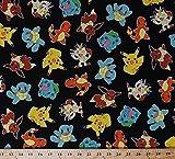 Furniture - Cotton Original Pokemon Characters Toss Nintendo Video Games Kids Jet Black Cotton Fabric Print by the Yard (aop-15114-190-jet)