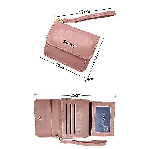 b4d934fb65c1 Amazon | 二つ折り財布 レディース 小銭入れ 大容量 オシャレ ハンドストラップ付き ボックス型短財布 小型 軽量 女子力Up〜 (ピンク)  | 小銭入れ