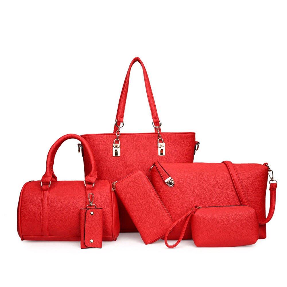 Woman Bag With A Large Bag,Gules,Six Piece Set