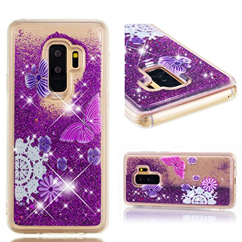 Galaxy S9 Plus Case, UZER Cute Bling Quicksand Moving Flowing Floating Luxury Twinkle Glitter Shining Sparkle PC Hard Slim Thin TPU Bumper Liquid Case for Samsung Galaxy S9 Plus 2018 Model