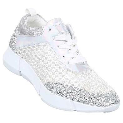 Damen Sneakers Schuhe Freizeitschuhe Silber 39 AxoM1wmsx