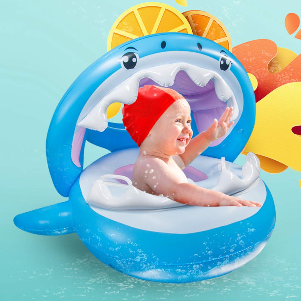 Baby Pool Float, Baby Float with Canopy, Inflatable Floatie Swimming Ring for Kids Aged 6-36 Months by MUREE