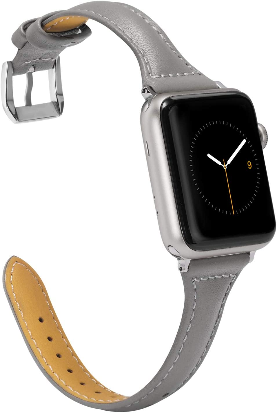 Wearlizer Thin Leather Compatible with Apple Watch 42mm 44mm for iWatch SE Womens Mens Top Grain Leather Sport Strap, Stylish Simple Slim Cute Wristband (Sliver Buckle) Series 6 5 4 3 2 1-Grey