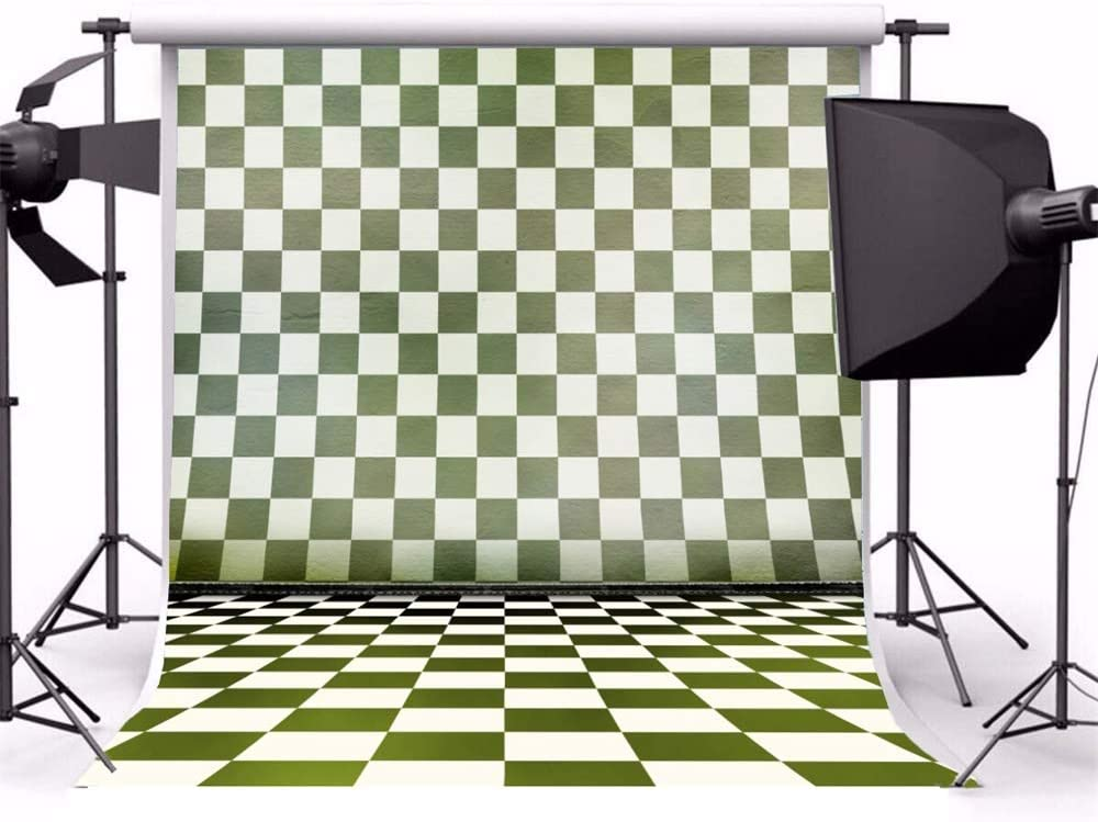Laeacco 6.5x6.5ft Retro Grunge Faded Olive Checked Wall Floor Vinyl Photography Background Child Adult Pet Creative Artistic Portrait Shoot Backdrop Studio Photo Props