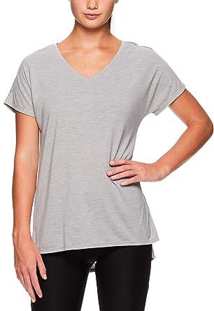 6ee54520 Reebok Women's V Neck Workout & Gym T Shirt - Short Sleeve Activewear Top -  Grey
