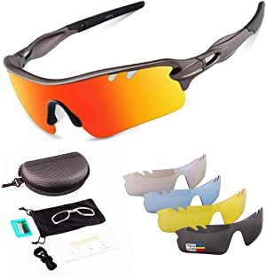 Toneoesol Sports Sunglasses,Polarized Cycling Glasses for Men Women, with 5 Interchangeable Lenses for Cycling Running