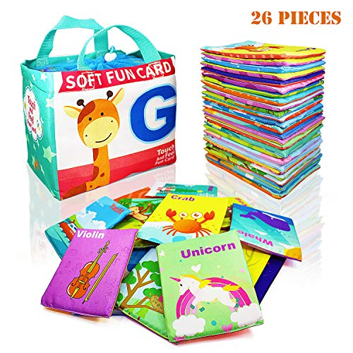 Adpartner Soft Educational Toys for 1 Year Old Toddlers Baby Early Learning Toys 26 Letters Cloth Cards Washable Alphabet Cards with Drawstring Bag
