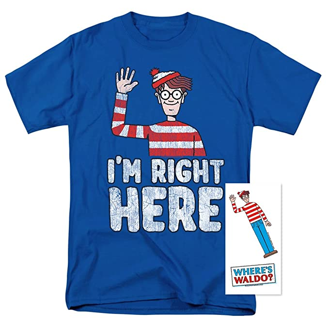 4d19ffd43aa8a Popfunk Where's Waldo I'm Right Here Funny Quote T Shirt & Exclusive  Stickers (