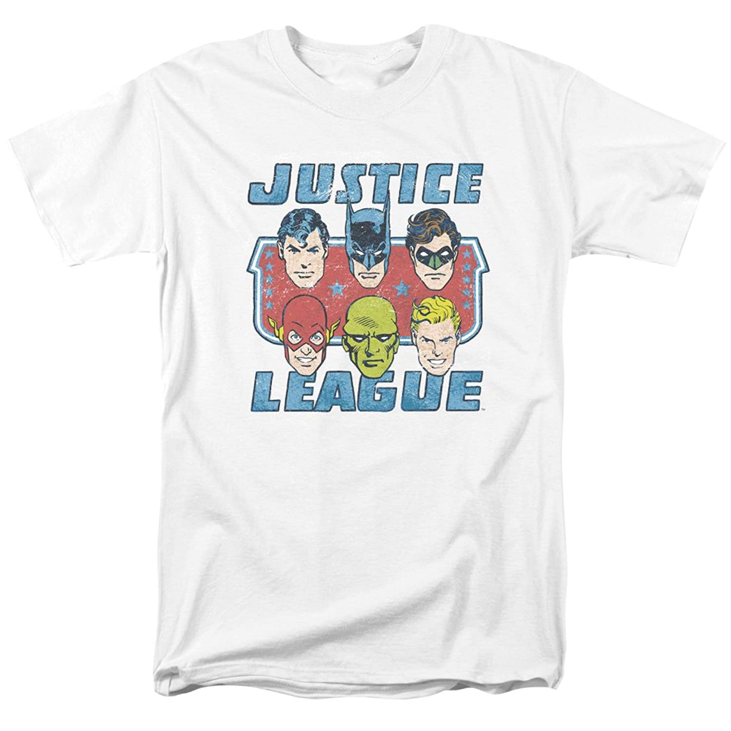 DC Comics The Justice League Faces Of Justice Male Heroes Adult T-Shirt