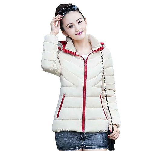 KOROWA Mujeres invierno chaqueta corta delgada chaqueta de gran tamaño chaqueta con capucha caliente