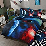 EsyDream Universe Solar System Kids Bedding Sets Twin Size 3 Pieces,100% Polyester Outer Space Stars & Moon Duve Bed Sheet Sets,Full/Queen Size (4PC/Set)