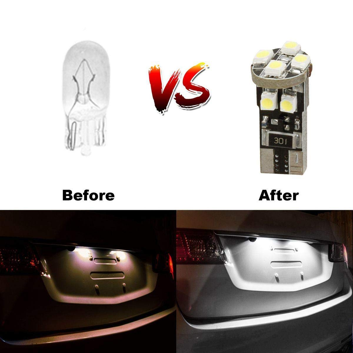 Partsam 2x T10 194 168 W5W LED Backup Reverse Parking Lights Error Free CANBUS Ready Car LED Bulbs 6000K Xenon White Ultra Bright Replacement for Mercedes-Benz Porsche Volkswagen