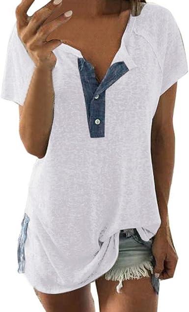 YanHoo Tops de Mujer Camiseta de Manga Corta con Botones para Mujer Las Mujeres de Manga Corta Suelta botón Informal Blusa Camiseta Tank Tops Manga Larga Casual de Mujer: Amazon.es: Ropa y