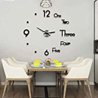 DIY Wall Clock Modern Frameless Large 3D Wall Watch Giant Roman Numerals Clock Mirror Wall Clock Decor Sticker DIY Clock…